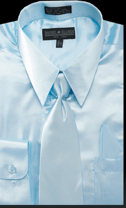 Daniel Ellissa Mens Light Blue Shiny Satin Dress Shirt Tie Set 3012