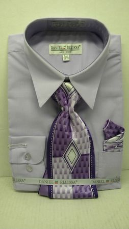 Daniel Ellissa Mens Lilac Dress Shirt Tie Set D1P2