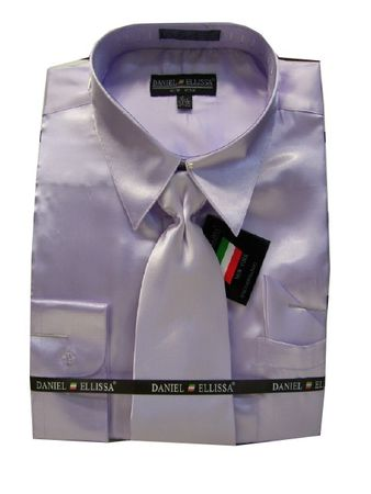 Daniel Ellissa Mens Lilac Shiny Satin Dress Shirt Tie Combination 3012 - click to enlarge
