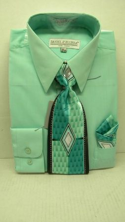 Daniel Ellissa Mens Mint Green Dress Shirt Tie Set D1P2