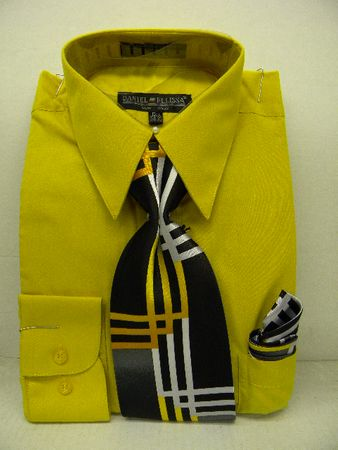 Daniel Ellissa Mens Mustard Color Dress Shirt Tie Hankie Combination D1P2