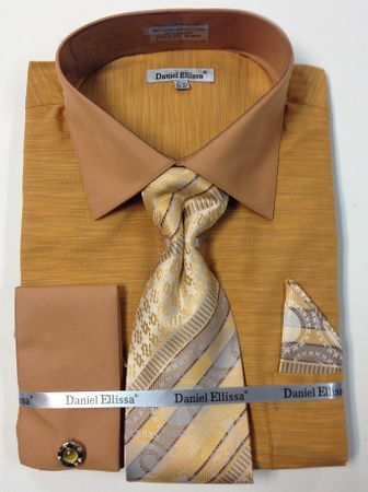 Daniel Ellissa Mens Mustard Texture French Cuff Shirt Tie Combo DS2014P2 - click to enlarge