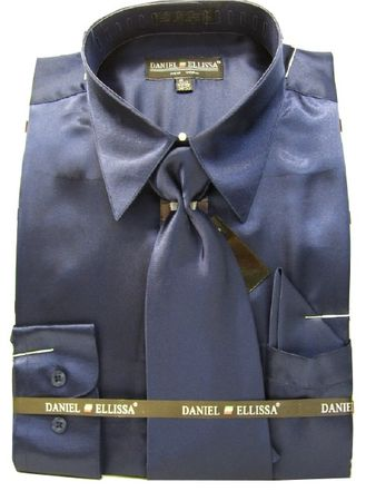 Daniel Ellissa Mens Navy Blue Satin Dress Shirt Tie Set 3012