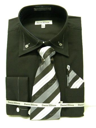Daniel Ellissa Mens New Black French Cuff Dress Shirt 3742 Size 18.5 36/37 Final Sale - click to enlarge
