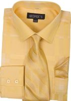 Mens Dress Shirt with Matching Tie and Hanky Gold George AH623