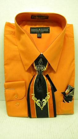 Daniel Ellissa Mens Orange Dress Shirt Tie Set D1P2