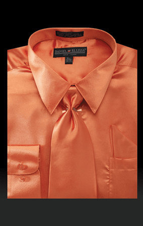 Daniel Ellissa Mens Orange Satin Dress Shirt Tie Combination 3012