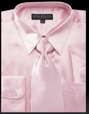 Daniel Ellissa Mens Pink Shiny Satin Dress Shirt Tie Set 3012
