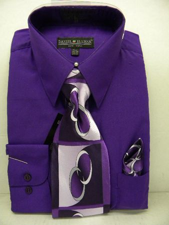 Daniel Ellissa Mens Purple Dress Shirt Tie Set D1P2