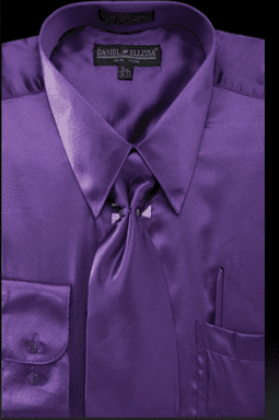 Daniel Ellissa Mens Purple Shiny Satin Dress Shirt Tie Combination 3012