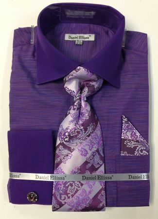 Daniel Ellissa Mens Purple Woven French Cuff Shirts Tie Set DS2014P2 - click to enlarge