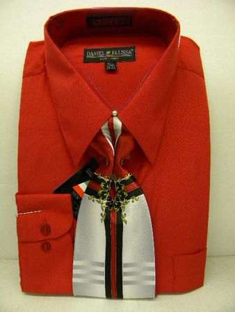 Daniel Ellissa Mens Red Dress Shirt Tie Combination D1P2