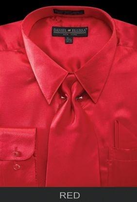 Daniel Ellissa Mens Red Shiny Satin Dress Shirt Tie Set 3012