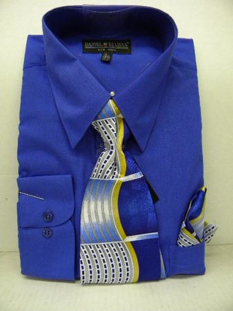 Daniel Ellissa Mens Royal Blue Dress Shirt Tie Set D1P2