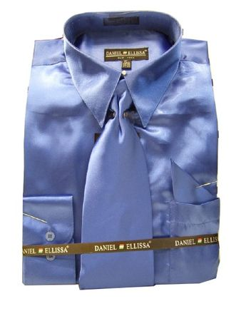 Daniel Ellissa Mens Royal Blue Shiny Satin Dress Shirt Tie Combination 3012 - click to enlarge