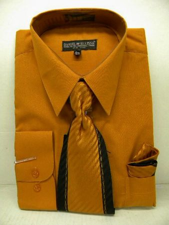Daniel Ellissa Mens Rust Dress Shirt Tie Combination D1P2