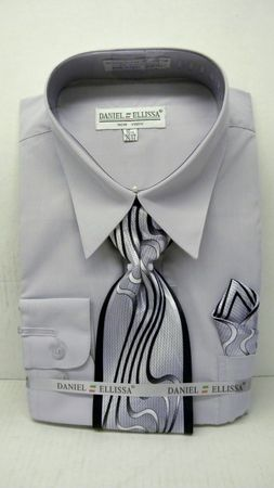 Daniel Ellissa Mens Silver Dress Shirt Tie Set D1P2