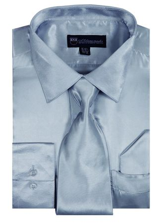 Mens Silver Satin Dress Shirt Tie Set Milano SG08