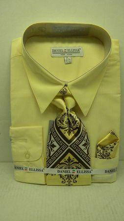 Daniel Ellissa Mens Soft Butter Yellow Dress Shirt Tie Set D1P2