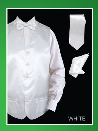 Mens White Tuxedo Vest Set Shiny Satin VS801