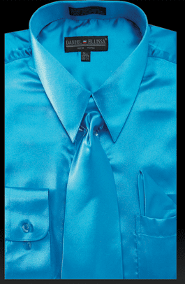 Daniel Ellissa Mens Turquoise Shiny Satin Dress Shirt Tie Combination 3012