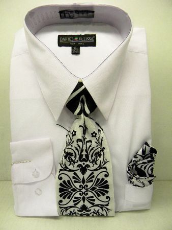Daniel Ellissa Mens All White Dress Shirt Tie Set D1P2