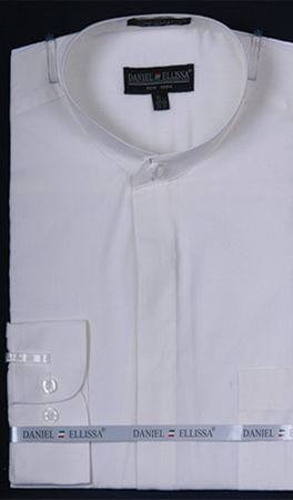 Daniel Ellissa Mens White No Collar Dress Shirt Mandarin DS3001C