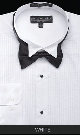 Mens White Wingtip Tuxedo Shirt With Bow Tie Daniel Ellissa DS3005T - click to enlarge