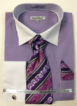 Daniel Ellissa Purple Oxford Narrow Striped French Cuff Shirts Set DS3775P2 - click to enlarge