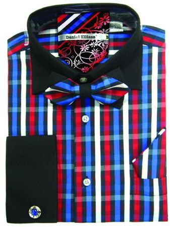Daniel Ellissa Red Blue Plaid Shirt Bow Tie Set DS3779BP2 - click to enlarge