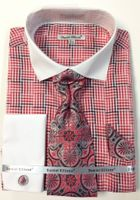 853937fe47cd Daniel Ellissa Red Inspired Plaid French Cuff Shirt Tie Combo DS3774P2