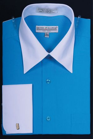 French Cuff Dress Shirt Turquoise White Contrast Collar DS3006WT