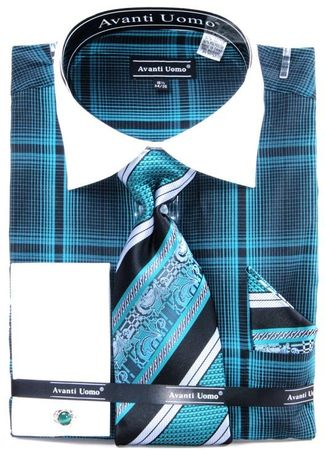 Avanti Uomo Mens Teal Bold Plaid French Cuff Shirt Tie Combo DN62M Size 18.5 34/35 Final Sale - click to enlarge