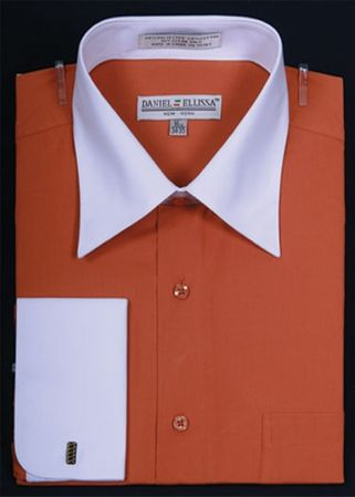 Daniel Ellissa Two Tone Rust French Cuff Dress Shirt DS3006WT - click to enlarge
