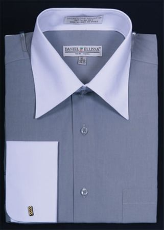 Daniel Ellissa Silver and White French Cuff Dress Shirt DS3006WT