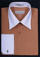 Daniel Ellissa Two Tone Tan French Cuff Dress Shirt DS3006WT