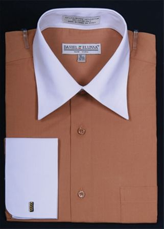 French Cuff Dress Shirt Tan White Contrast Collar DS3006WT