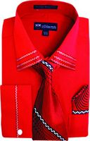 Milano Mens Fancy Trim Red French Cuff Shirt Tie Set SG28