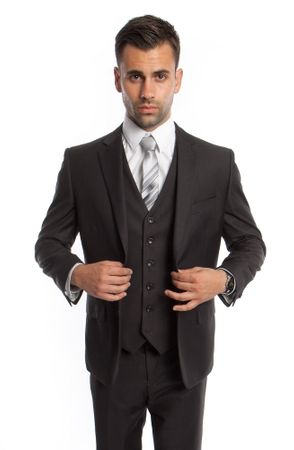 Dark Gray 3 Piece Suit Mens Solid Color Regular Fit Tazio M302-13