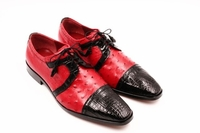 David Eden Alligator Ostrich Shoes Black Red Cap Toe Carini