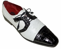 David Eden Alligator Ostrich Shoes Black White Cap Toe Carini
