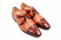 David Eden Alligator Ostrich Shoes Cognac Cap Toe Carini