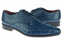 David Eden Blue Bumpy Ostrich Skin Shoes Connor