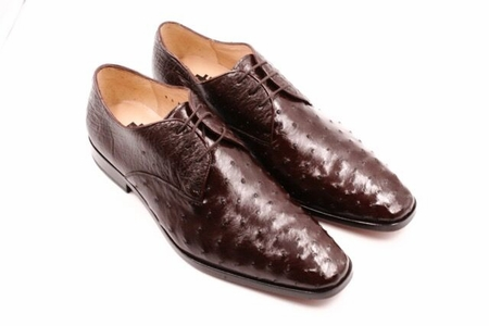 David Eden Brown Bumpy Ostrich Skin Shoes Connor - click to enlarge