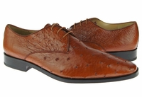 David Eden Cognac Bumpy Ostrich Skin Shoes Connor