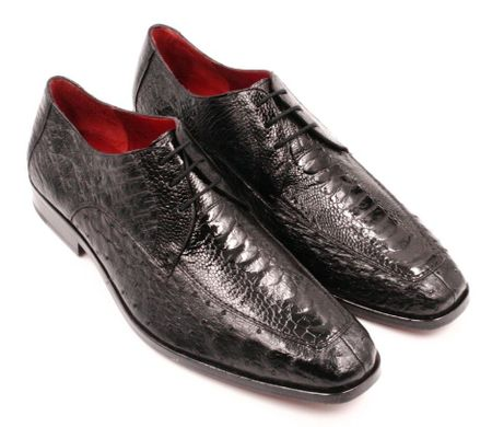 David Eden Genuine Black Ostrich Shoes Split Toe Andretti - click to enlarge
