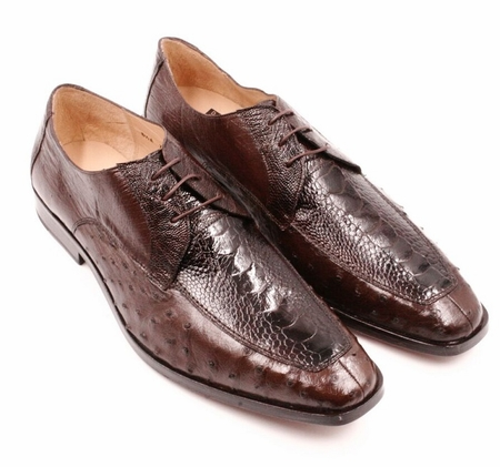David Eden Genuine Brown Ostrich Shoes Split Toe Andretti - click to enlarge
