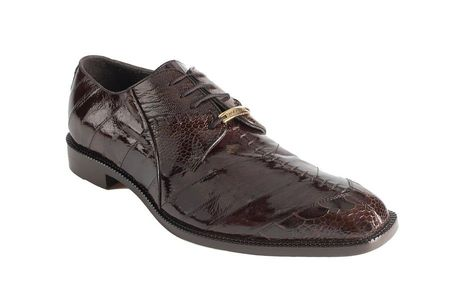 Belvedere Shoes Brown Eel Ostrich Skin Lace Up Nome