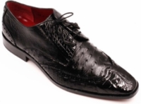 David Eden Mens Black Alligator/Ostrich Skin Shoes Wingman