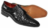 David Eden Mens Black Alligator Shoes Lace Up Fitipaldi
